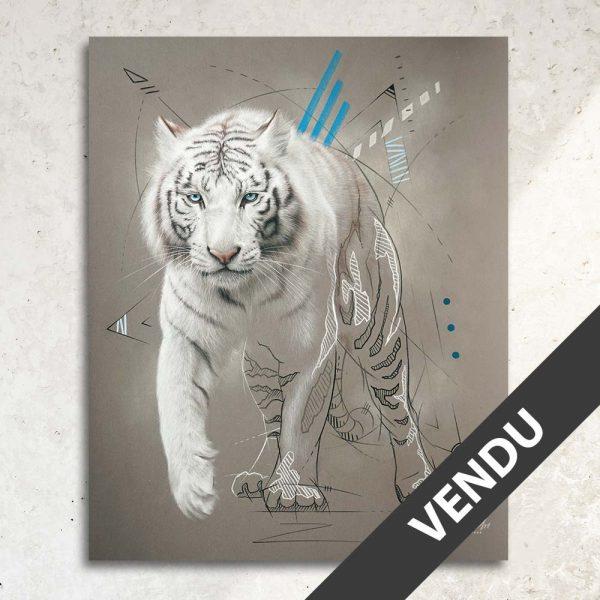 Art animalier : tableau PHRONIMOS, avec un tigre blanc, réalisé avec la technique du pastel, sur fond moderne et graphique. Meilleur artiste pastelliste animalier. Art animalier de luxe