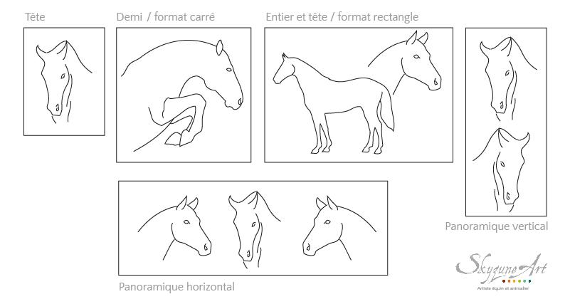 Exemple de placement et format pour des portraits animalier avec un ou plusieurs animaux
