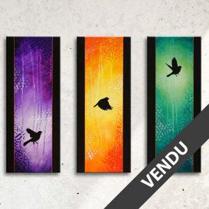tableau coloré abstrait avec des ombres d'oiseaux