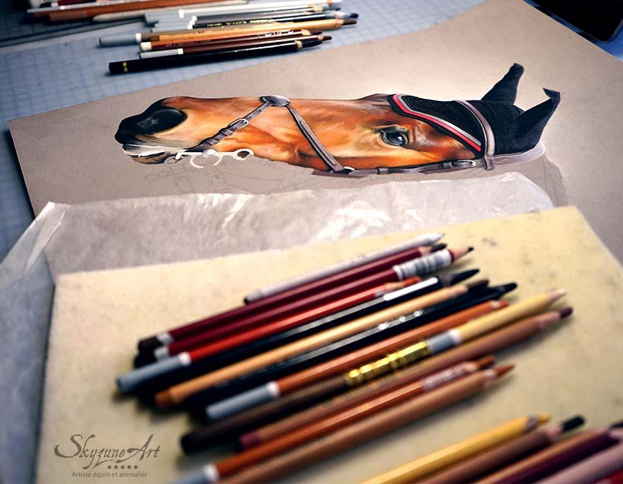 dessin art équestre portrait cheval tableau Meilleur artiste pastelliste peintre équin animalier.