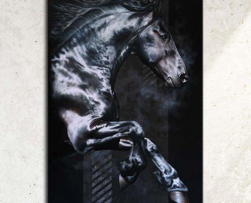 Art équin, œuvre d'art équestre : tableau AKATAGNOTOS, grand format avec un étalon frison au galop, réalisé avec la technique de la peinture à l'huile, sur fond noir moderne graphique. Meilleur artiste équin peintre animalier. art, équin, équestre, acheter, tableau, peinture, cheval, chevaux, déco, décoration, moderne, contemporain, oeuvre, cadre, mur, huile, mouvement Portrait équin, tableau original d'un cheval dans un style réaliste en ombre et lumière, réalisé avec la technique de la peinture à l'huile par Skyzune ART. Meilleur artiste peintre équin et animalier. Tableau original animalier contemporain et graphique de Skyzune ART, artiste peintre pastelliste en art équin et animalier réaliste en ombre et lumière, à la peinture acrylique, à la peinture à l'huile et au pastel, art mural, décoration d'intérieur moderne, art de luxe, décoration hôtel design intérieur luxe, art, équin, équestre, acheter, tableau, peinture, cheval, chevaux, déco, décoration, moderne, contemporain, oeuvre, cadre, mur, huile, mouvement, artiste peintre équin et animalier, peinture et pastel. Art animalier de luxe