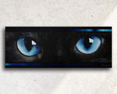 Art abstrait animalier : tableau BLUE SOUL, avec des yeux de chat, réalisé avec la technique de la peinture acrylique. Meilleur artiste peintre animalier.