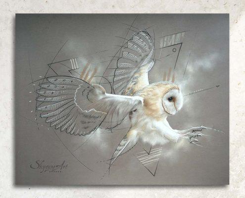 Art animalier : tableau ELAPHROS, une chouette effraie, réalisé avec la technique du pastel sec, avec un fond moderne et graphique. Meilleur artiste pastelliste animalier.