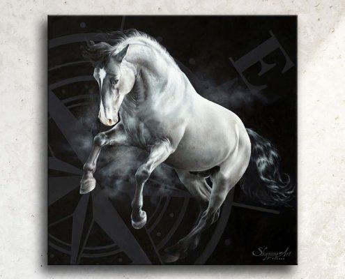 Art équin, œuvre d'art équestre : zoom sur tableau EST, un cheval gris au galop, réalisé avec la technique de la peinture acrylique et à l'huile, avec une rose des vents sur fond noir. Meilleur artiste équin peintre animalier. art, équin, équestre, acheter, tableau, peinture, cheval, chevaux, déco, décoration, moderne, contemporain, oeuvre, cadre, mur, huile, mouvement Portrait équin, tableau original d'un cheval dans un style réaliste en ombre et lumière, réalisé avec la technique de la peinture à l'huile par Skyzune ART. Meilleur artiste peintre équin et animalier. Tableau original animalier contemporain et graphique de Skyzune ART, artiste peintre pastelliste en art équin et animalier réaliste en ombre et lumière, à la peinture acrylique, à la peinture à l'huile et au pastel, art mural, décoration d'intérieur moderne, art de luxe, décoration hôtel design intérieur luxe, art, équin, équestre, acheter, tableau, peinture, cheval, chevaux, déco, décoration, moderne, contemporain, oeuvre, cadre, mur, huile, mouvement, artiste peintre équin et animalier, peinture et pastel. art de luxe