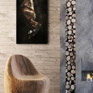 Art équin : mise en situation du tableau FOEHN, un cheval cabré, réalisé avec la technique de la peinture à l'huile, sur fond noir. Meilleur artiste équin peintre animalier.