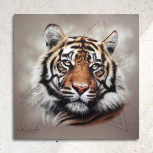 Art animalier : une tête de tigre, réalisé avec la technique du pastel sec, avec fond moderne graphique.. Meilleur artiste pastelliste animalier.