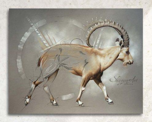 Art animalier : un bouquetin de Nubie, réalisé avec la technique du pastel sec, avec fond graphique.. Meilleur artiste pastelliste animalier.