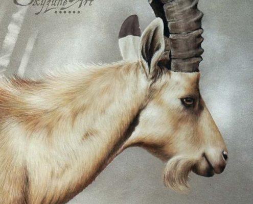 Art animalier : un bouquetin de Nubie, réalisé avec la technique du pastel sec, avec fond graphique. Meilleur artiste pastelliste animalier.