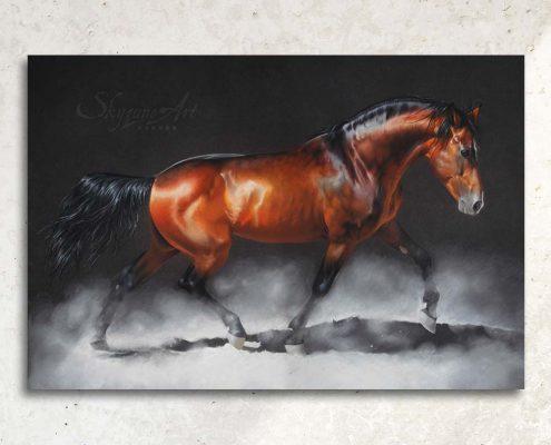 Art équin à acheter, art équestre : tableau MAGNIFICENT, Magnifique étalon espagnol bai au trot, réalisé avec la technique du pastel sec, sur fond sombre. Meilleur artiste pastelliste équin.