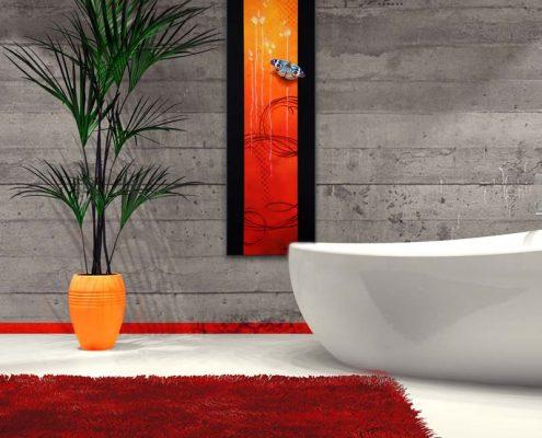 Art abstrait animalier : mise en situation du tableau NIMYKO, avec un papillon, réalisé avec la technique de la peinture acrylique, fond orange et rouge moderne et graphique