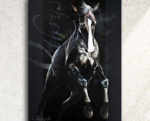 Art équin à acheter, œuvre d'art équestre : tableau OTHRYS, un cheval noir qui saute, réalisé avec la technique de la peinture acrylique et à l'huile, effet typographique sur fond noir. Meilleur artiste équin peintre animalier. Portrait équin, tableau original d'un cheval dans un style réaliste en ombre et lumière, réalisé avec la technique de la peinture à l'huile par Skyzune ART. Meilleur artiste peintre équin et animalier. Tableau original animalier contemporain et graphique de Skyzune ART, artiste peintre pastelliste en art équin et animalier réaliste en ombre et lumière, à la peinture acrylique, à la peinture à l'huile et au pastel, art mural, décoration d'intérieur moderne, art de luxe, décoration hôtel design intérieur luxe, art, équin, équestre, acheter, tableau, peinture, cheval, chevaux, déco, décoration, moderne, contemporain, oeuvre, cadre, mur, huile, mouvement, artiste peintre équin et animalier, peinture et pastel.