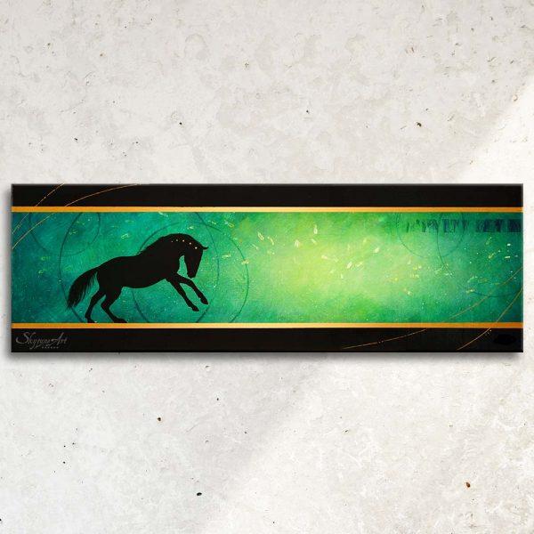 Art abstrait équin : tableau TADRAYNEN, avec une silhouette de cheval sur fond vert et turquoise, réalisé avec la technique de la peinture acrylique, moderne et graphique