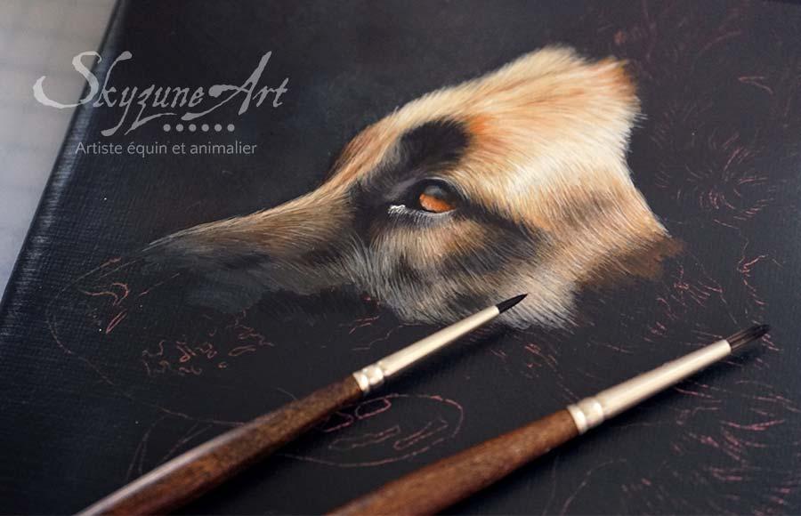 Tableau animalier, portrait sur commande d'après photos, style réaliste, d'un chien de race berger allemand, réalisé avec la technique de la peinture acrylique par Skyzune ART. Meilleur artiste peintre et pastelliste animalier. art de luxe