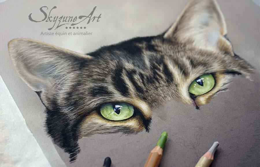Portrait animalier sur commande d'après photos, style réaliste, d'un chat du bengal et chat européen, réalisé avec la technique du pastel sec par Skyzune ART. Meilleur artiste peintre et pastelliste animalier.