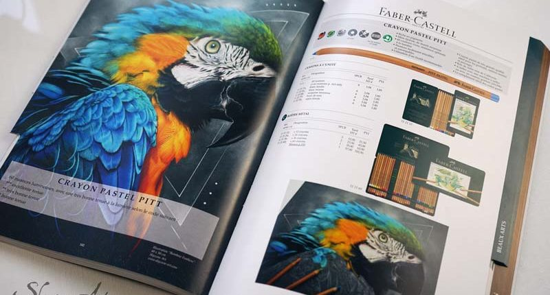 Tableau de Pastelliste animalier dans le catalogue Faber Castell, art animalier de luxe