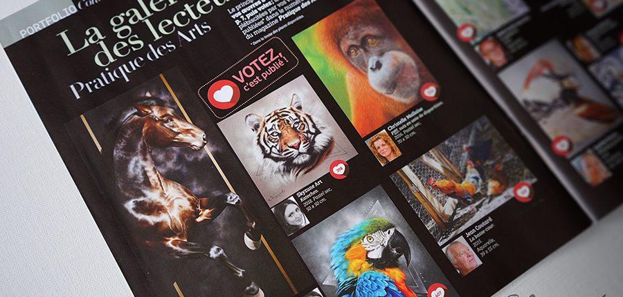 Magazine pratique des arts avec les résultats du concours sur les animaux et la vie sauvage, technique pastel, peinture à l'huile, aquarelle et autres....