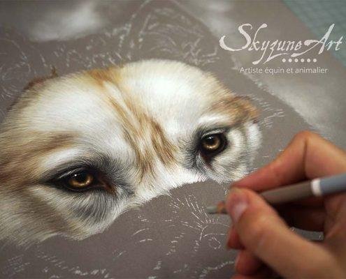 Tableau animalier, dessin, Portrait chien animalier sur commande d'après photos, style réaliste, de chien de race huski, réalisé avec la technique du pastel sec par Skyzune ART. Meilleur artiste peintre et pastelliste animalier contemporain.