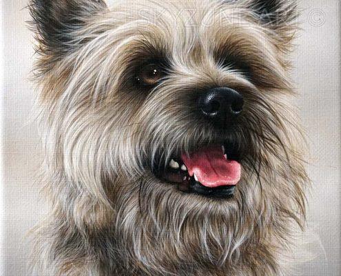 Commande tableau portrait chien à la peinture sur toile