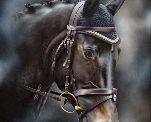 Commande tableau portrait cheval à la peinture sur toile