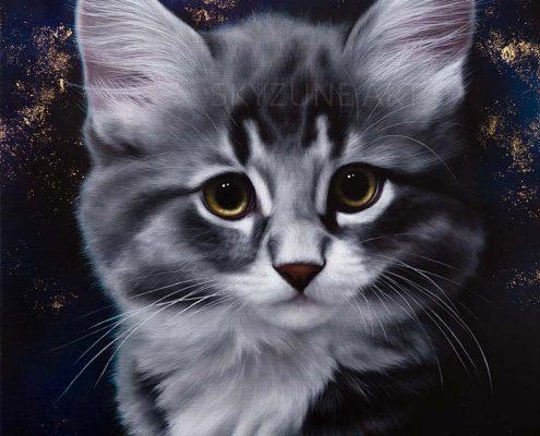 Commande tableau portrait chat à la peinture sur toile
